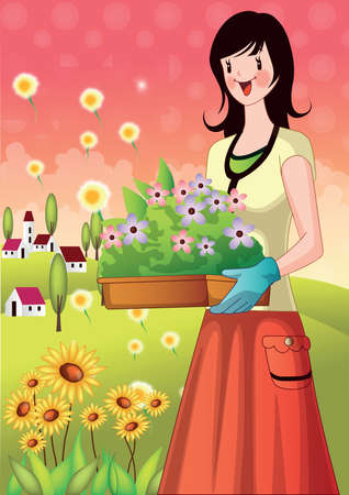 planting tree: girl planting tree in pot. girl carrying flower tray in hands Illustration