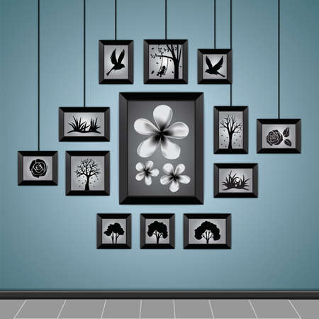 photo frames on a wall