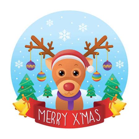 x mas background: reindeer with christmas background Illustration