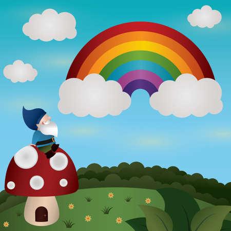 mushroom house: gnome sitting on mushroom house and watching rainbow
