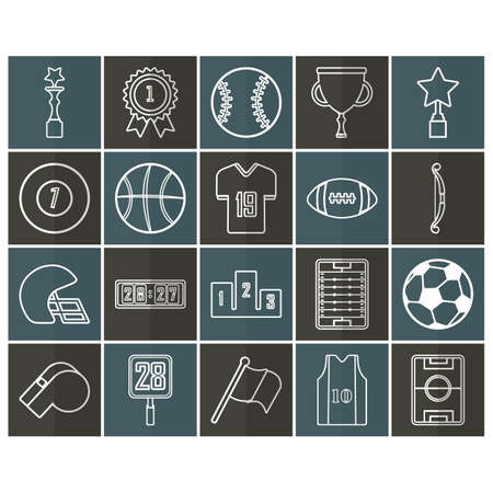 rugby field: set of sports icons