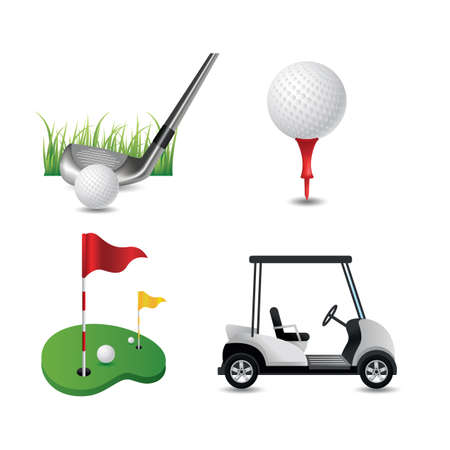 putting green: collection of golf equipment