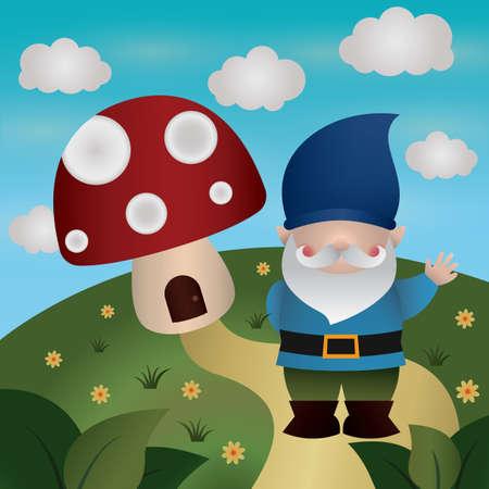 gnome: mushroom house and gnome