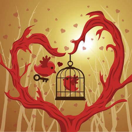 mate: bird saving its mate from a cage Illustration