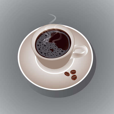 refreshment: cup of coffee and coffee beans Illustration