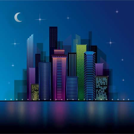 moon  metropolis: night view cityscape