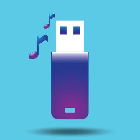 usb flash: usb flash drive with musical notes