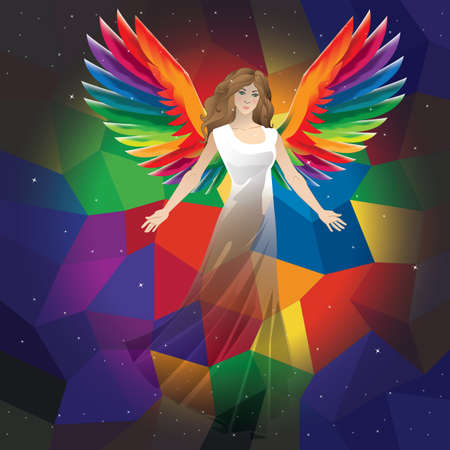 faceted: angel on a faceted background Illustration