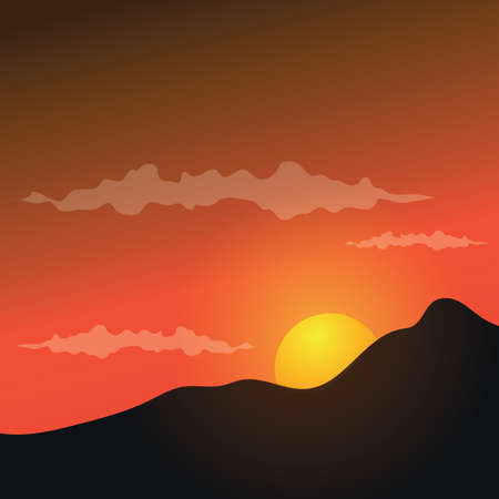 moutains: sunset background with moutains Illustration