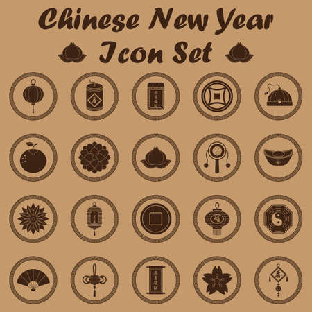 lotus lantern: chinese new year icon set