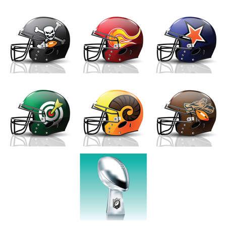 football helmets: american football helmets and trophy icon