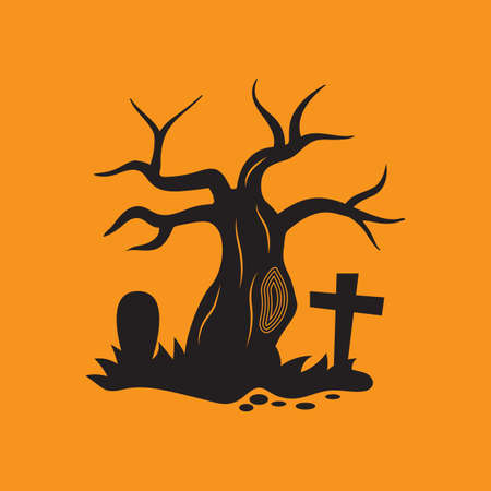 bare tree: bare tree in graveyard Illustration