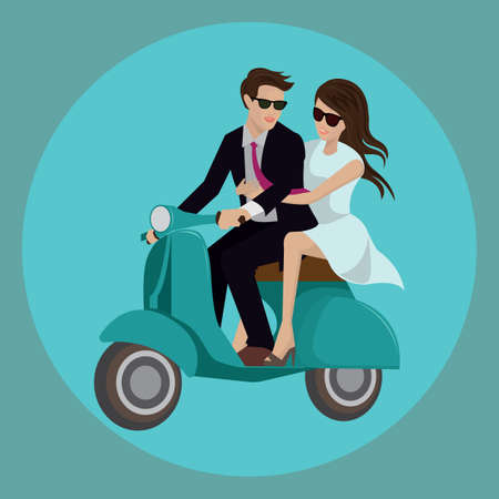 happy couple: happy couple riding on scooter Illustration