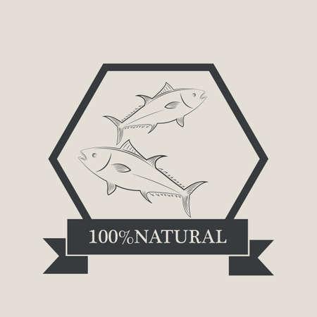 hundred: hundred percent natural fish label