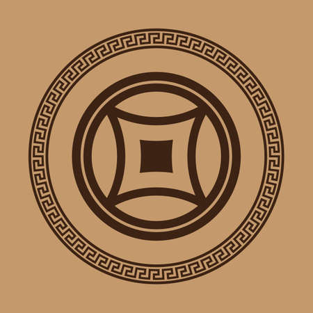 A chinese copper coin. Ilustrace