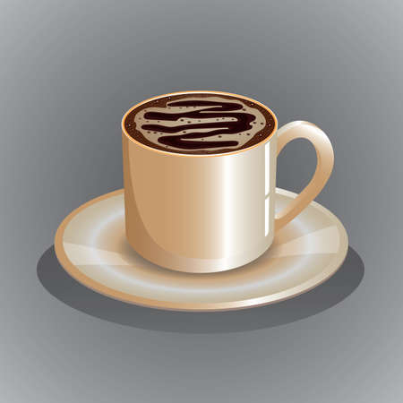 cup of coffee and saucer Illustration