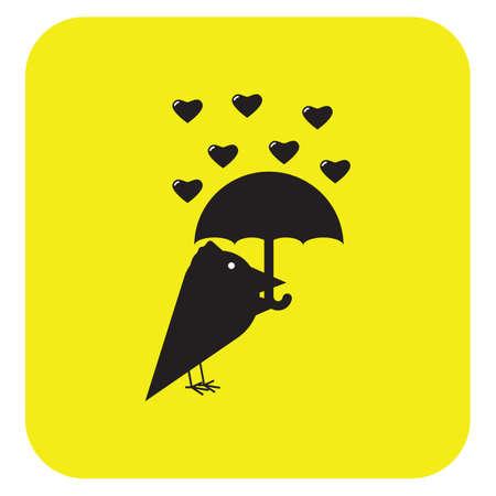 bird with umbrella in love