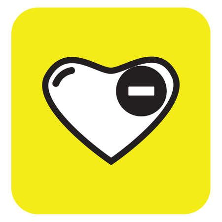 minus sign: heart with minus sign Illustration