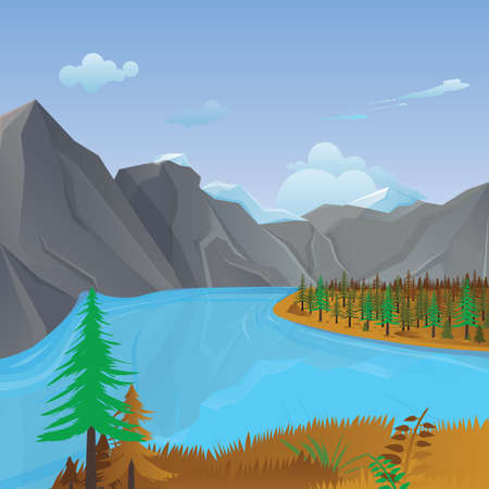 mountain stream: mountains and river landscape