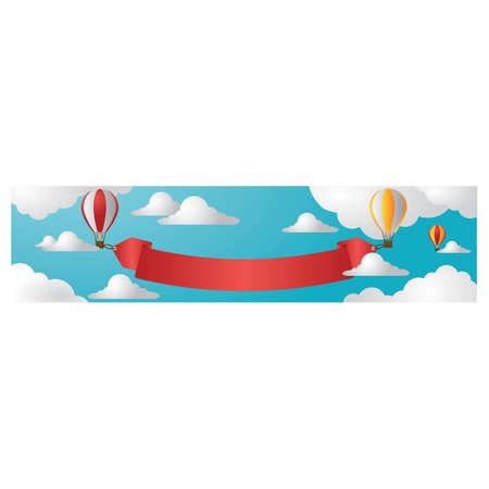 air: hot air balloons with banner Illustration