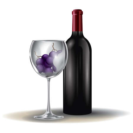 wine grapes: wine bottle and grapes in glass