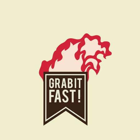 at it: grab it fast label design Illustration