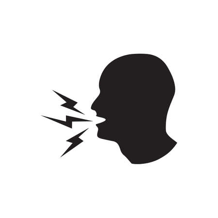 shouting: silhouette of a man shouting Illustration