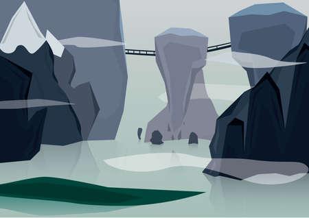 bridge in nature: scenic landscape Illustration