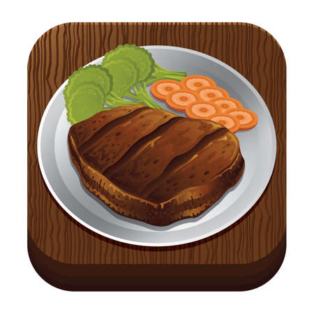 trencher: steak on a plate Illustration