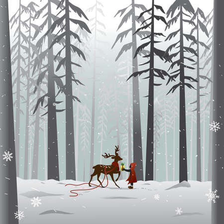 snow forest: reindeer in the forest
