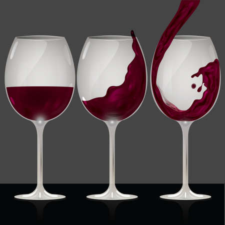 red wine pouring: set of wine glasses icon Illustration