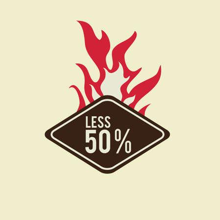 less: less 50 percent label design Illustration