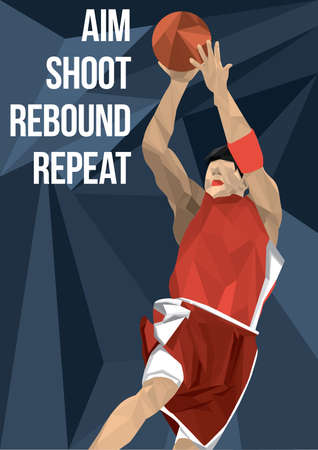 rebound: basketball player in action Illustration