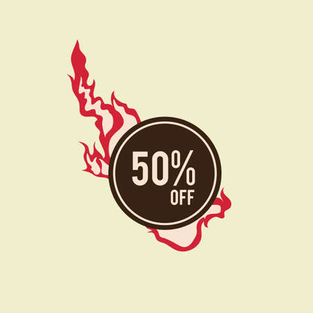 off on: 50 percent off label design Illustration