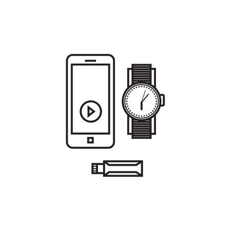 flash drive: smartphone with watch and flash drive Illustration