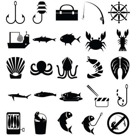 prawn: set of fishing icons Illustration