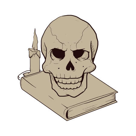 prop: skull head on a book