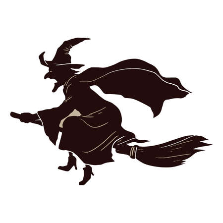 broomstick: witch flying on broomstick