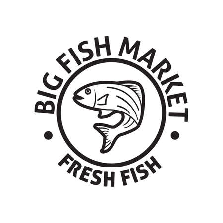big fish: big fish market label Illustration