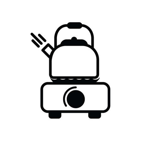 boiling: kettle boiling silhouette Illustration