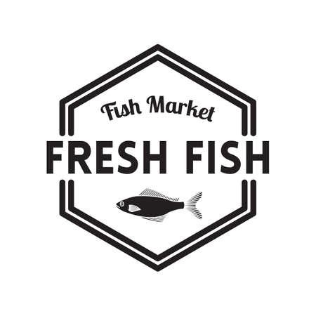 fresh fish: fresh fish label Illustration