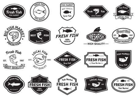 established: fresh fish market and quality labels collection Illustration