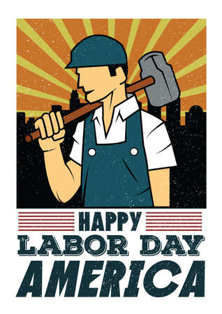 幸せな労働者の日の壁紙  イラスト・ベクター素材