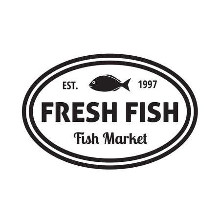 established: fresh fish label Illustration