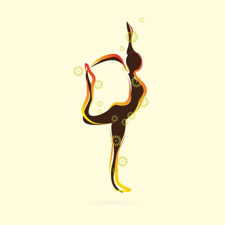 siluetas de mujeres: silueta de la mujer a practicar yoga en señor de la actitud de la danza