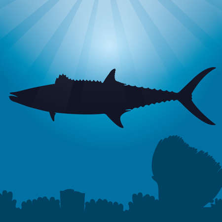 barred: narrow-barred spanish mackerel silhouette
