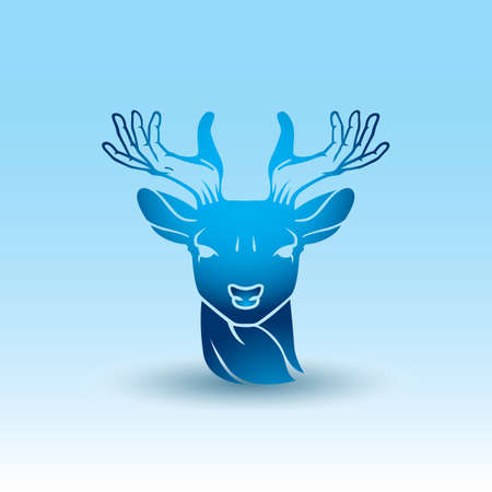 antlers: deer with hand antlers Illustration