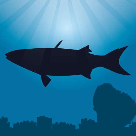 Bluespot Meeräsche Silhouette Standard-Bild - 53496335