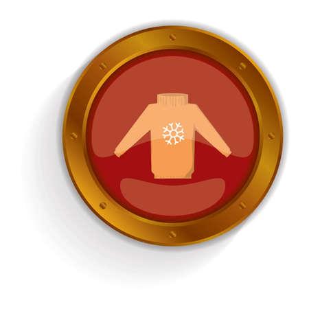 sueter: botón suéter navidad Vectores