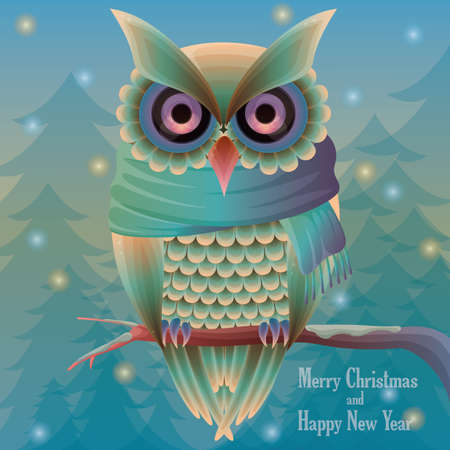 x mas card: christmas card with owl